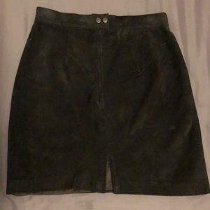 Black suede women's skirt